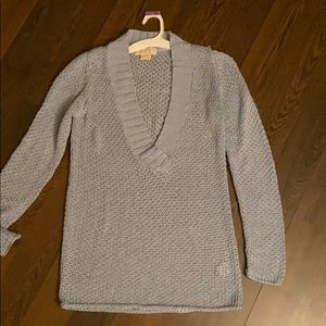 Michael Kors Light Blue Knit V-neck Sweater